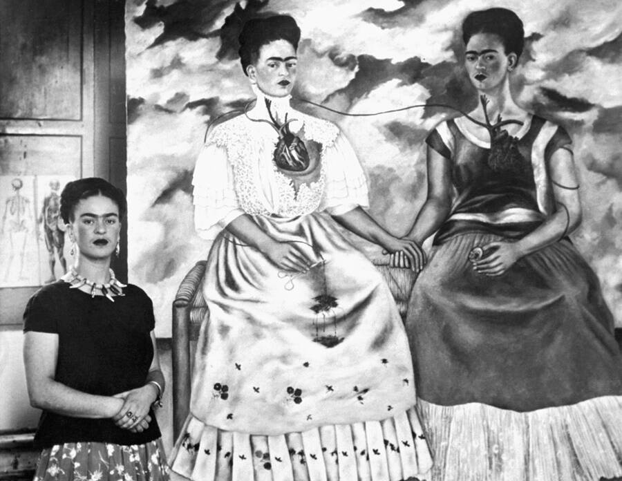 Frida Kahlo With Her Painting