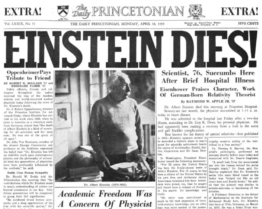 Newspaper On Einstein's Death