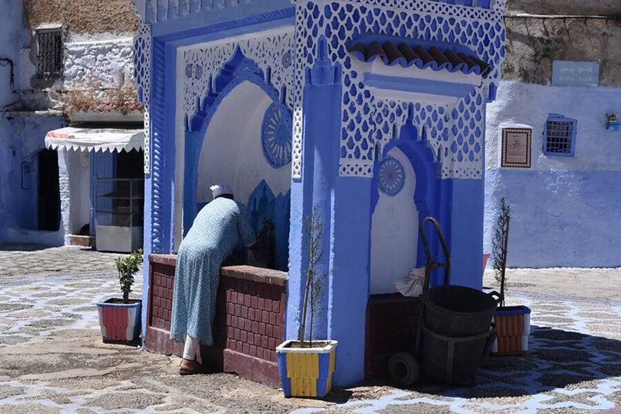 "Public Fountain In The ""Blue Pearl"" Of Morocco"