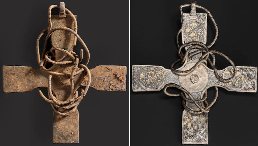 Anglo Saxon Cross Before And After