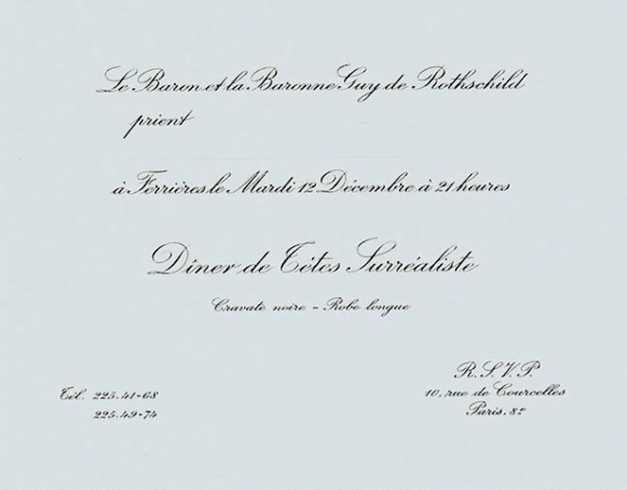 Backside Of Rothschild Party Invitation