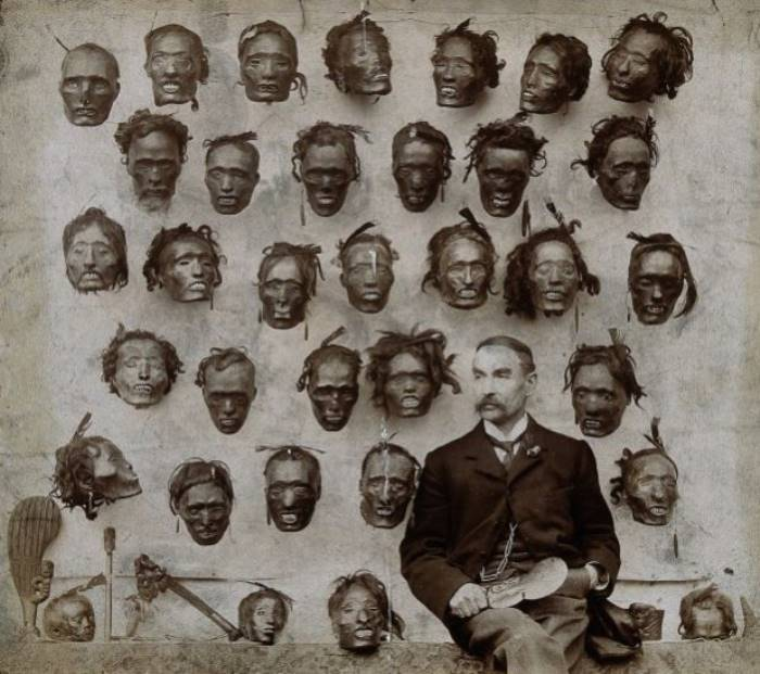 H G Robley With Mokomokai Heads