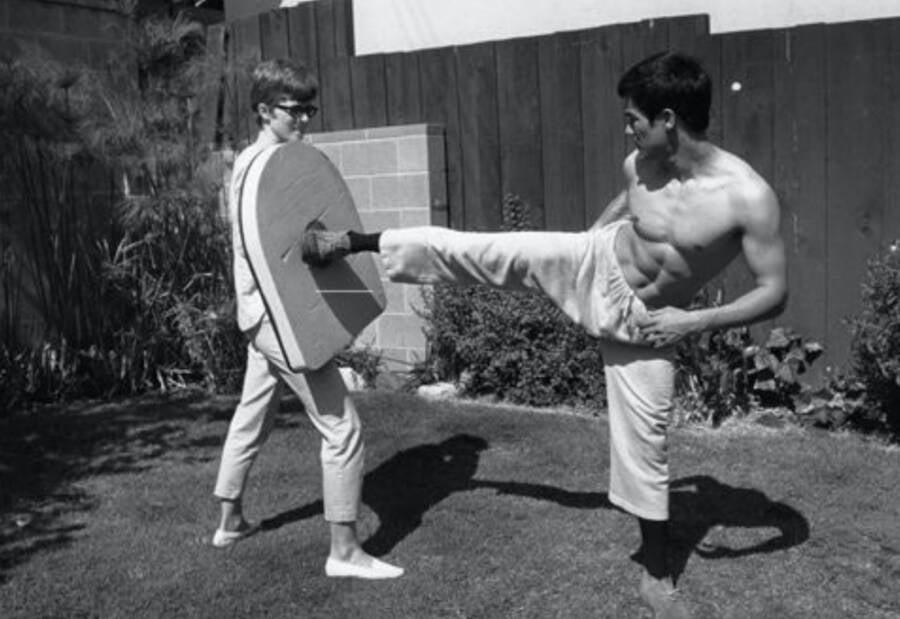 Linda Lee Cadwell Catching Bruce Lee Kicks