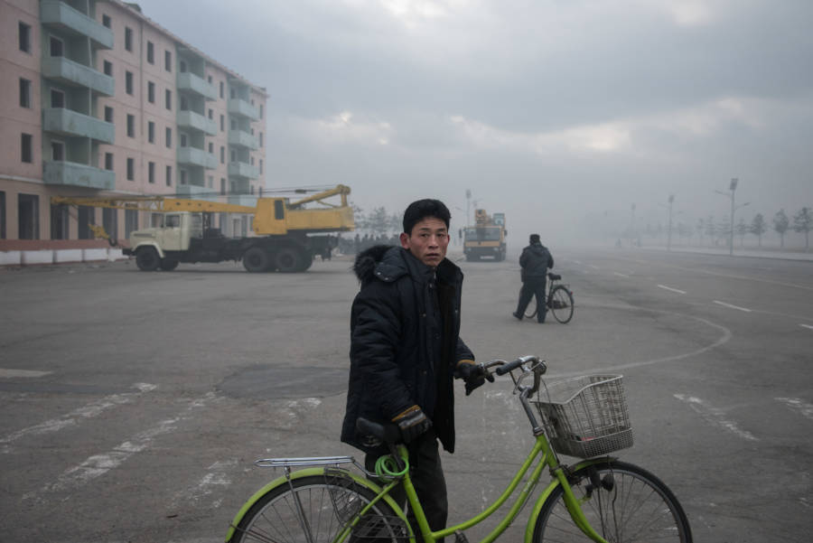 North Korean Man With Bicycle