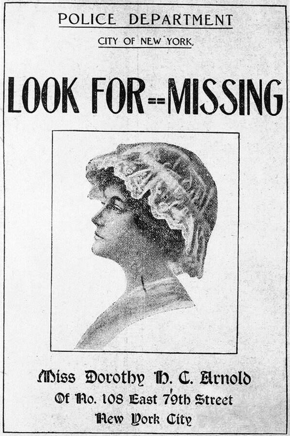 Dorothy Arnold Missing Persons Poster