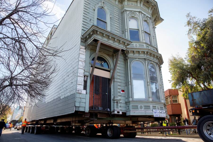 Victorian House Being Transported