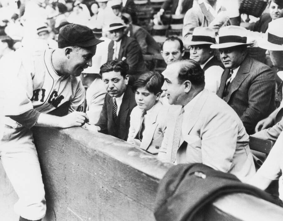 Albert Francis Capone And Father At Ballgame