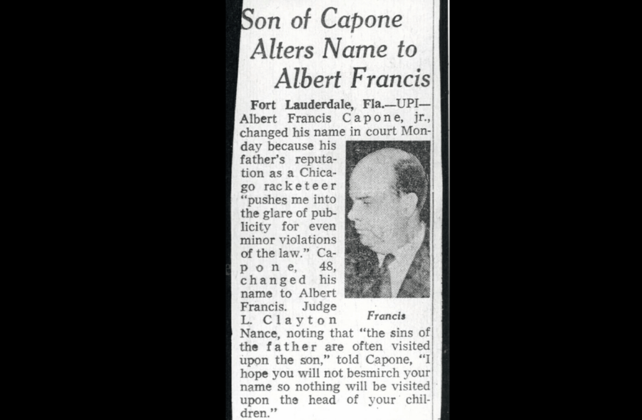 Albert Francis Capone Newspaper Clipping