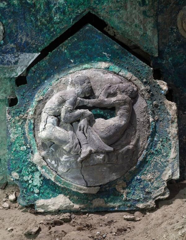 Ancient Pompeii Chariot Engraving