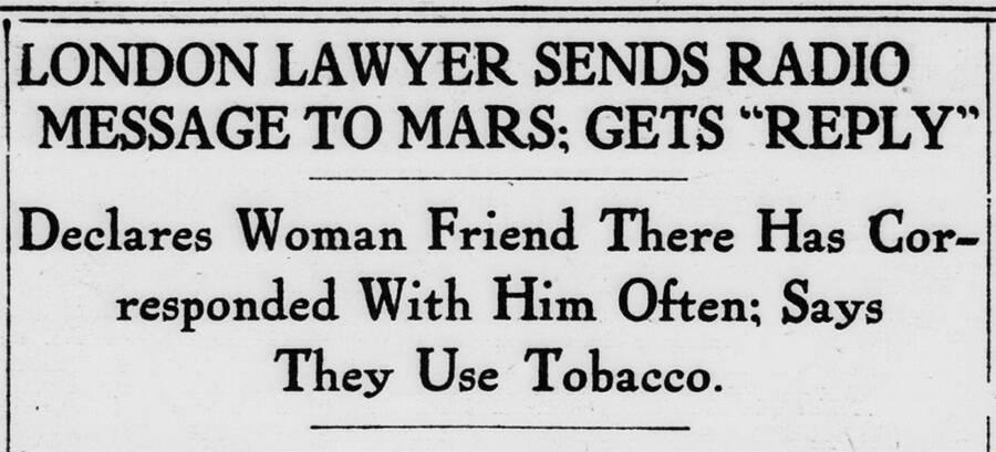 Radio Message To Mars Headline