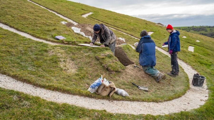 National Trust Scientists Excavate Cerne Abbas Giant