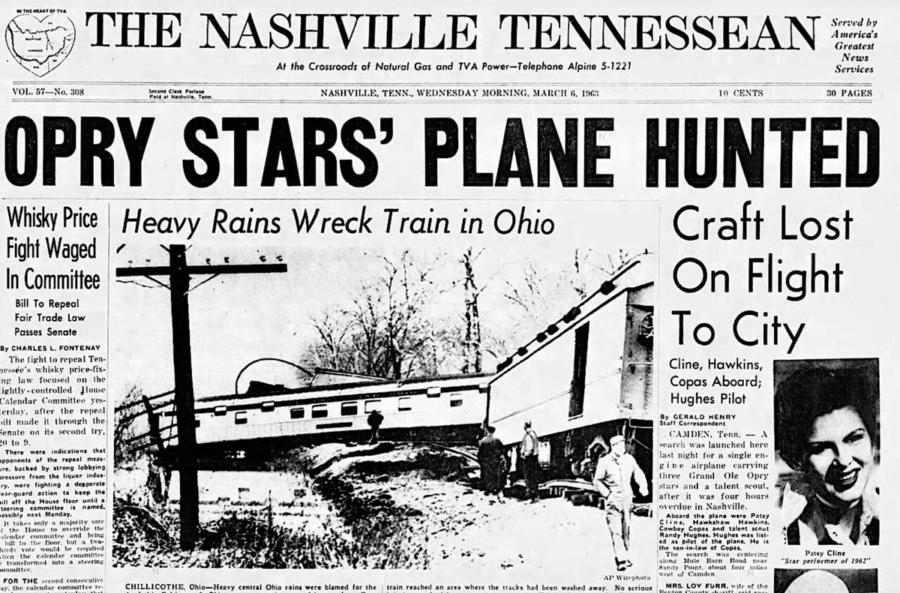 Newspaper Headline After Patsy Cline's Plane Crash