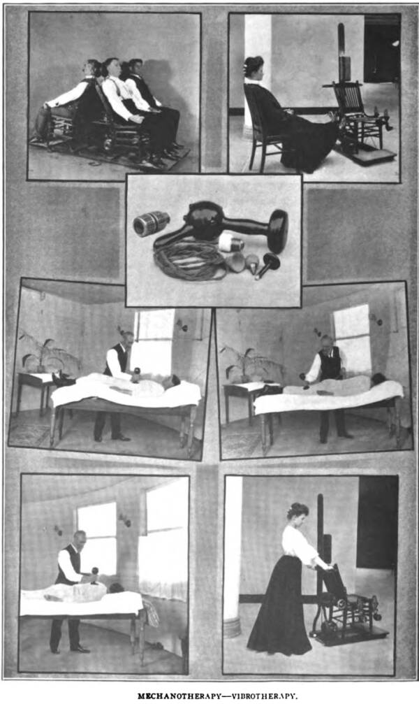 Public Domain This pamphlet for the Sanitarium shows some of the many treatments patients could receive there, from hydrotherapy to artificial sunlight baths.