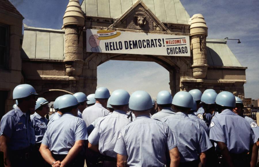 Police Under 1968 Democratic Convention Sign