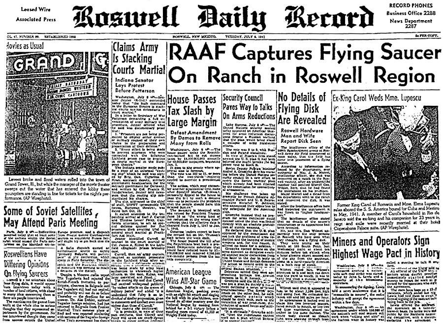 Roswell Newspaper 1947