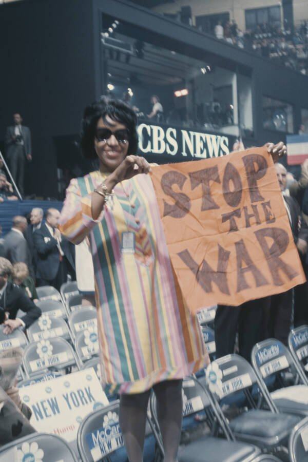 Woman Holding Stop War Sign