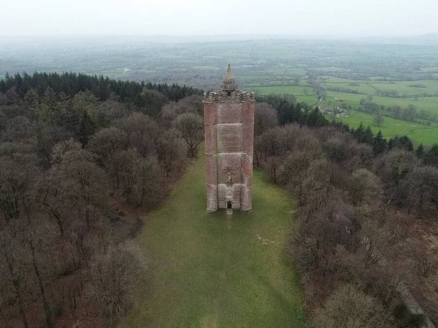 Aerial View Of King Alfreds Tower Facade