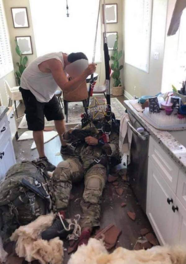Twitter/TheWTFNation The unidentified soldier after crashing into the house on Via Cielo in Atascadero, California.