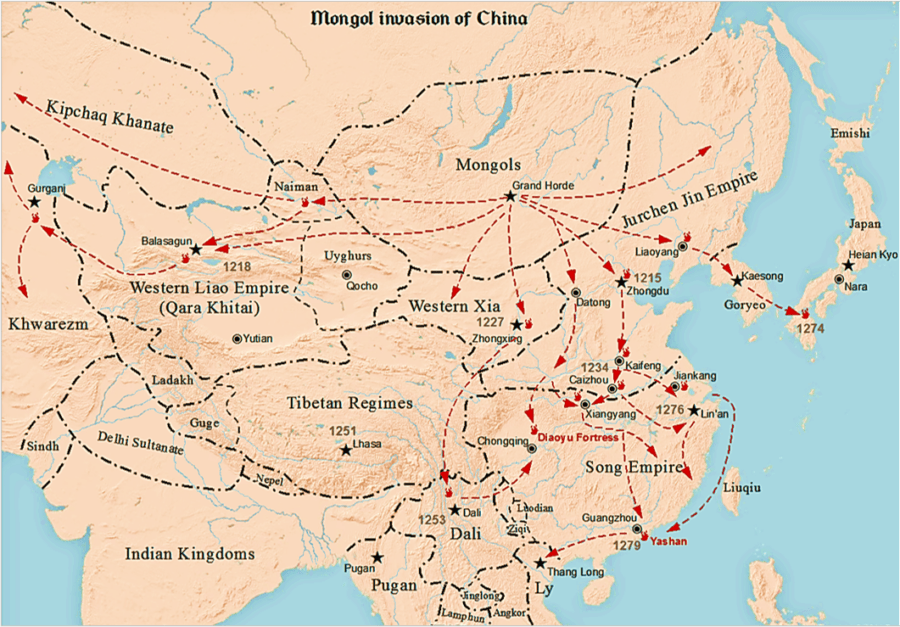 Map Of The Mongol Invasion Of China