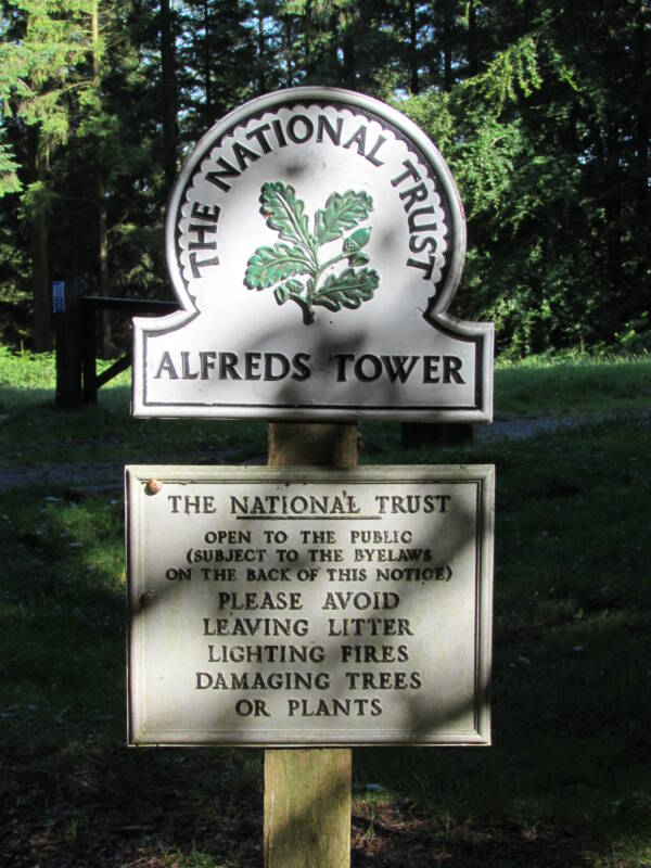 National Trust Sign At King Alfreds Tower