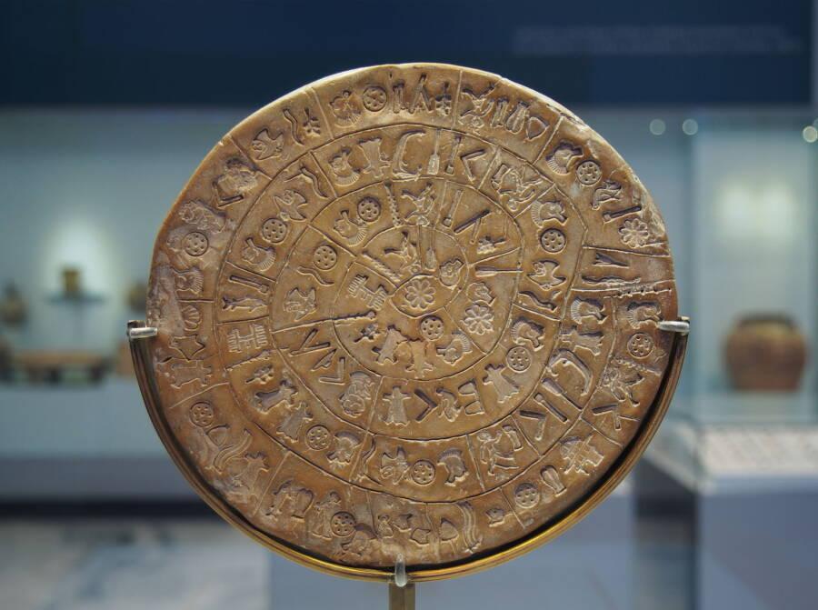 Phaistos Disc Displayed In Museum