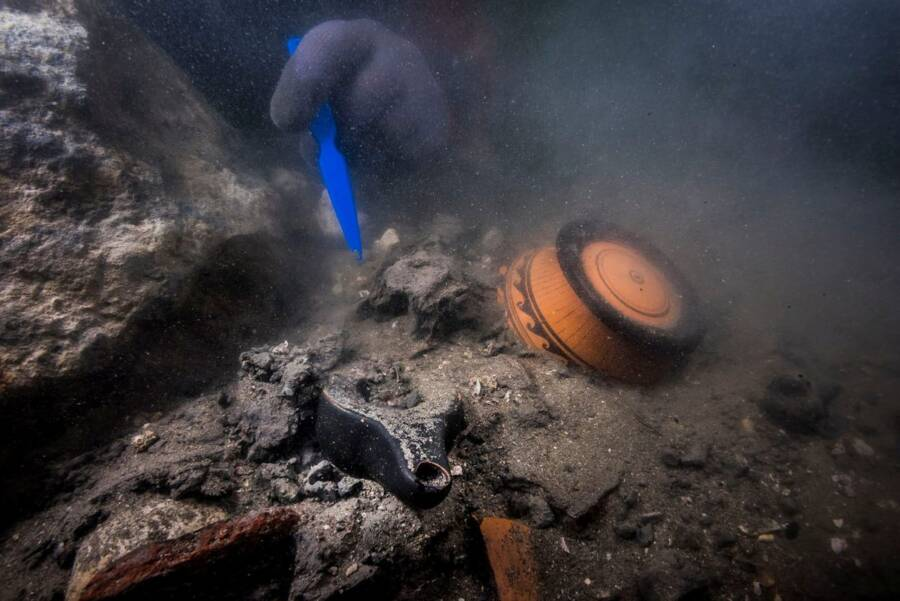 Researcher And Ancient Egptian Wreckage