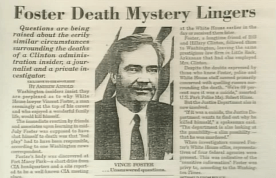 Vince Foster Newspaper Article