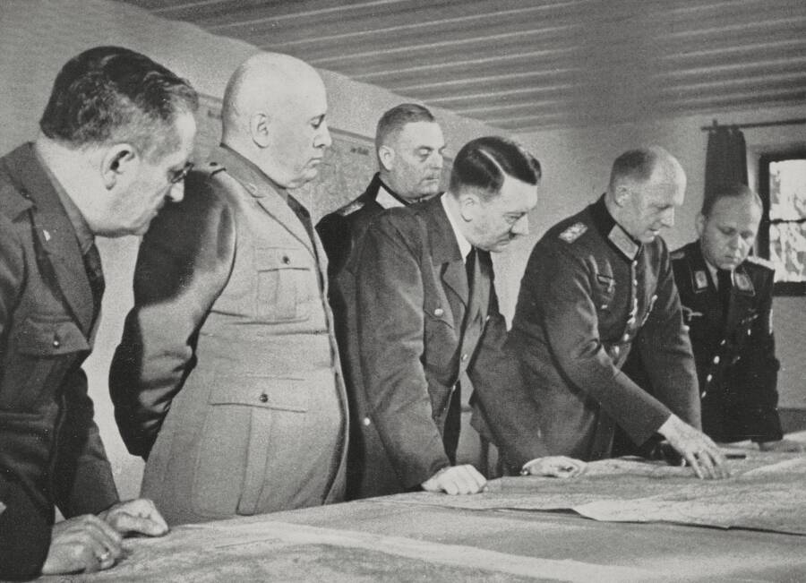 Adolf Hitler And Benito Mussolini At Wolfsschanze