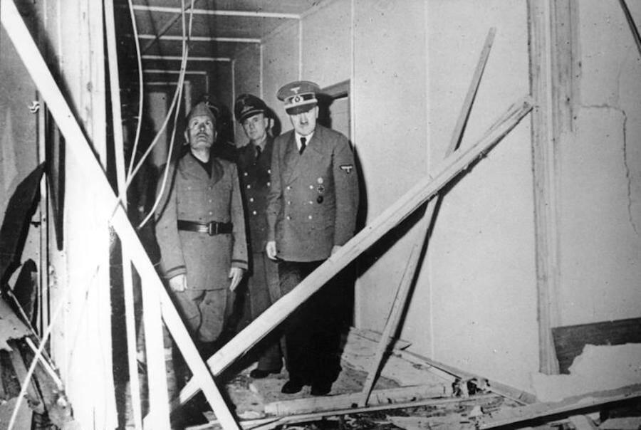 Adolf Hitler Viewing Bomb Damage