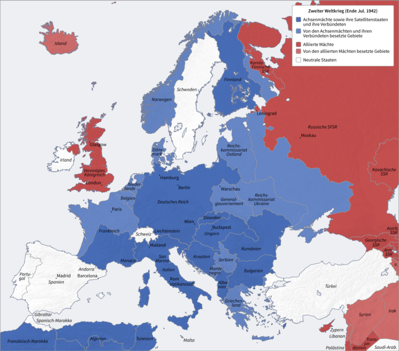 Map Of Europe In 1942