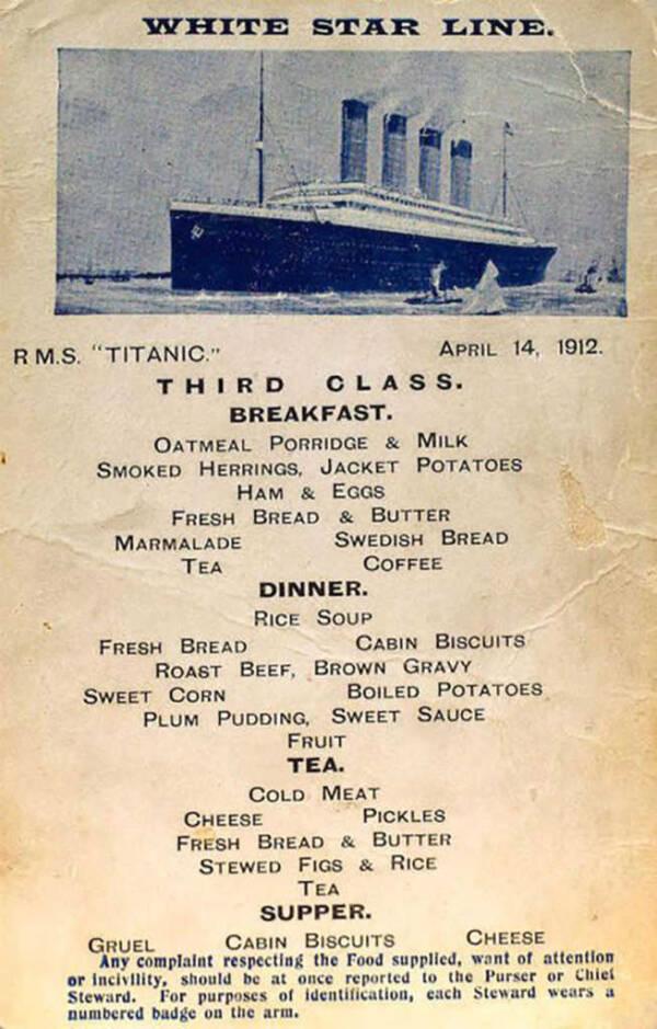Titanic Menu