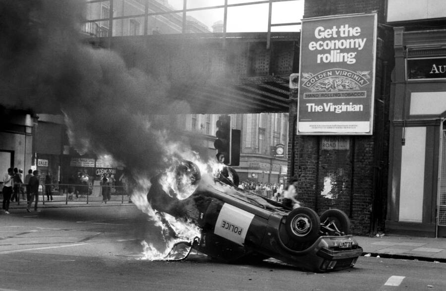 Police Car Burning During The Brixton Riots
