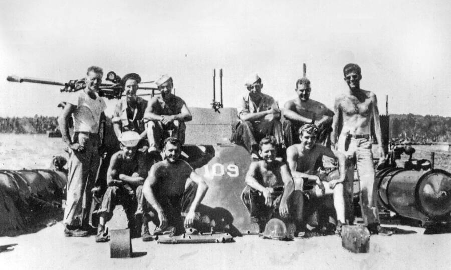 The crew of PT 109, with Kennedy at the far right.