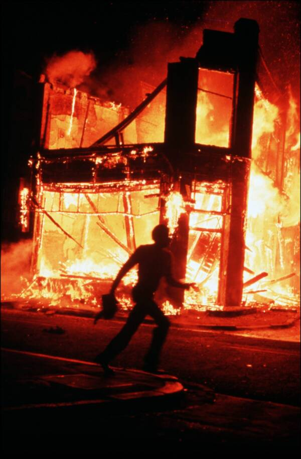 Running Past Fire During The Brixton Riots