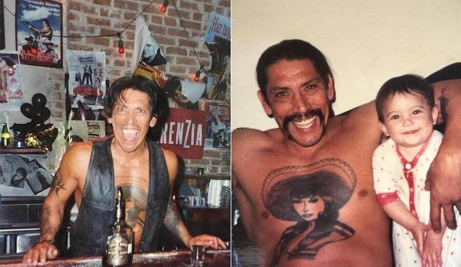 Young Danny Trejo Drinking And With His Daughter